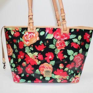 Dooney & Bourke Black Rose Large Tote Bag